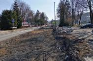 Obecnie w pobliżu Dworca Kolejowego trwają prace związane z przebudową DW941. Zdjęcie z 31.03.2021, fot. KR/Ox.pl