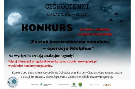 """Plakat wydarzenia """"Zostań konstruktorem samolotu – operacja Adolphus"""" / GOKSiT"""