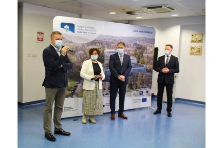Od lewej: dr Andrzej Kłoda, Janina Żagan, Czesław Płygawko i Krystian Dudek, prowadzący briefing. Fot. mat. pras.