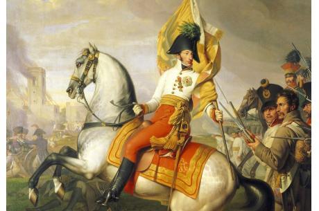 """Arcyksiążę Karol w trakcie Bitwy pod Aspern-Essling"", obraz autorstwa Johanna Petera Kraffta, 1812. Źródło: hgm.at"