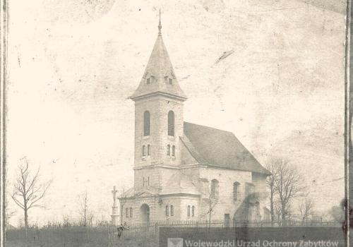 Kościół pw. św. Jakuba w Simoradzu. Fotografia z 1897 r. Archiwum Śląskiego Wojewódzkiego Konserwatora Zabytków, Delegatura w Bielsku-Białej, fot. M. Dąbrowska