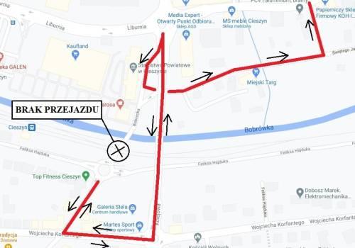 mapa objazdów/MZD Cieszyn/ media społecznościowe