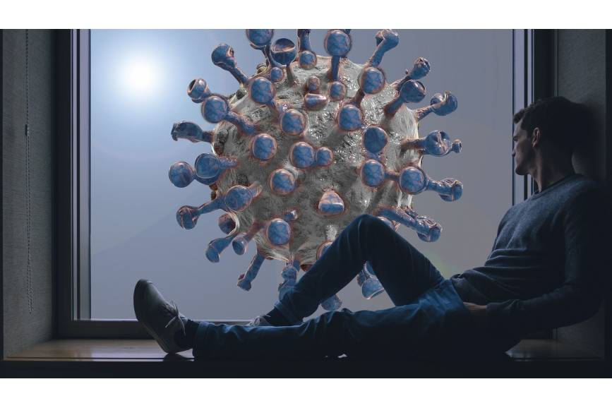 Wystające nogi mężczyzny w tle budowa koronawirusa