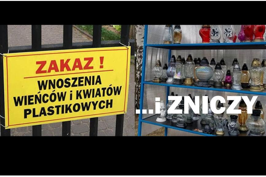 Zakaz wnoszenia wieńców i kwiatów plastikowych  oraz zniczy