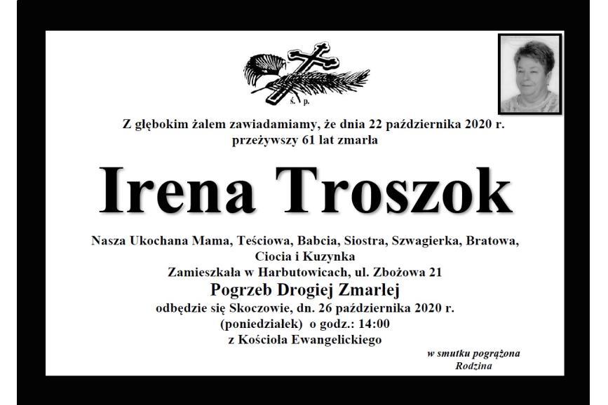 Klepsydra Śp. Ireny Troszok