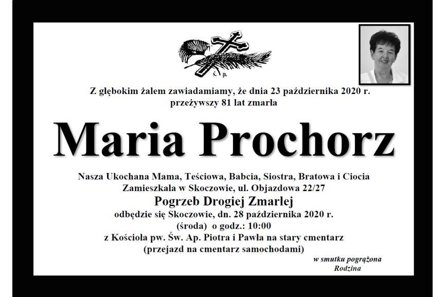 Klepsydra Śp. Marii Prochorz