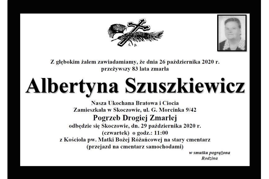 Klepsydra Śp. Albertyny Szuszkiewicz