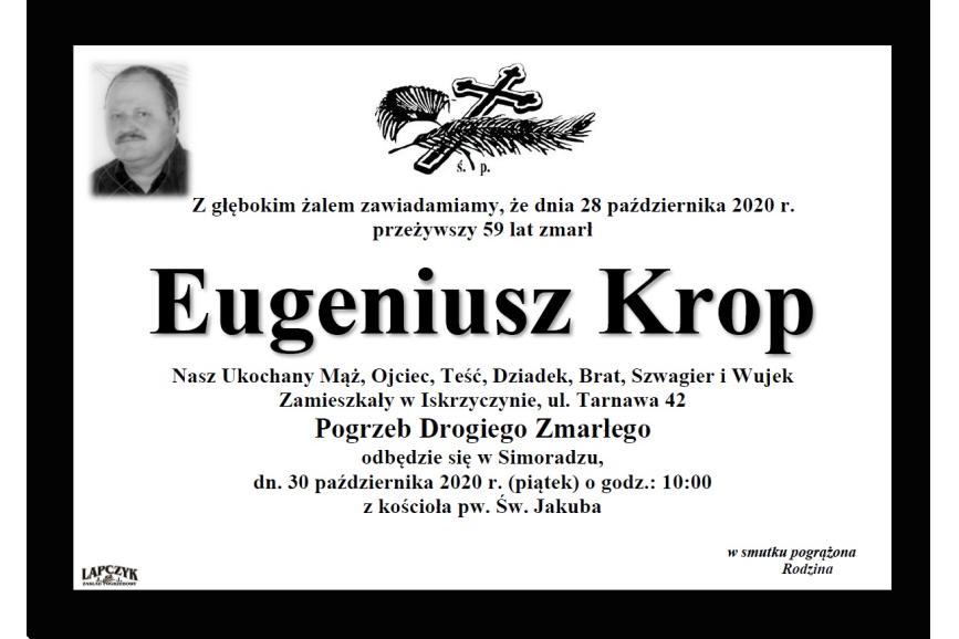 Klepsydra Śp. Eugeniusza Kropa