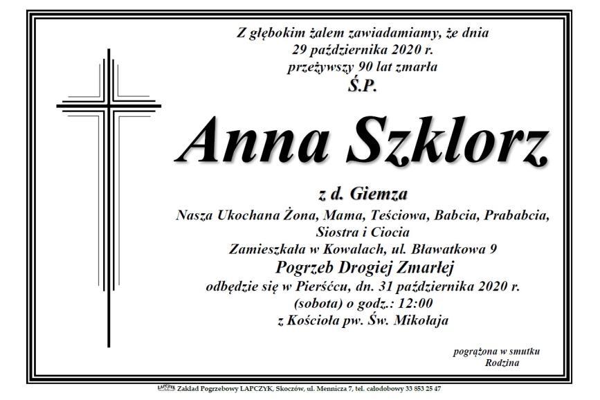 Klepsydra Śp. Anny Szklorz