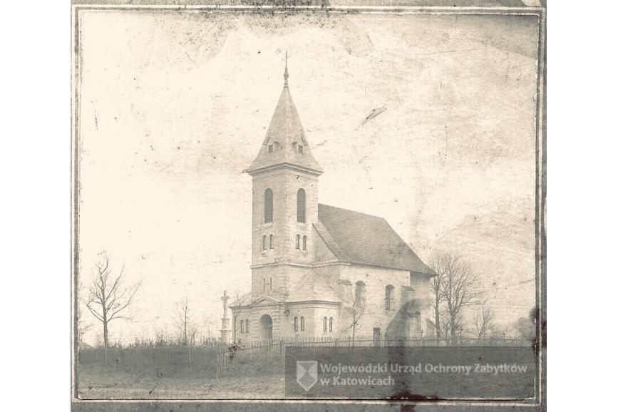 Kościół pw. św. Jakuba w Simoradzu. Fotografia z 1897 r. Archiwum Śląskiego Wojewódzkiego Konserwatora Zabytków, Delegatura w Bielsku-Białej