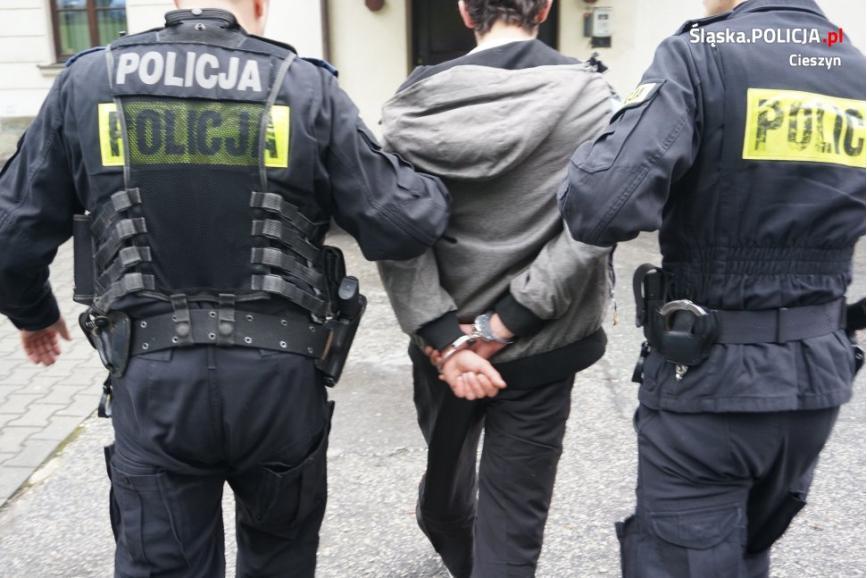 Dwóch policjantów prowadzi między sobą zatrzymanego mężczyznę, który ma kajdanki na rękach z tyłu. Policjanci trzymają  go za rękę w okolicy łokcia